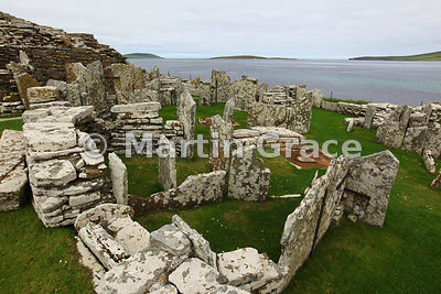 Part of the village associated with the Broch of Gurness, an Iron-Age stone defensive tower, West Mainland, Orkney, United Ki...