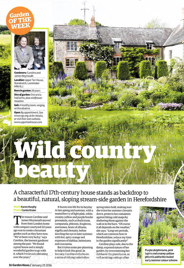 Upper Tan House, Garden News, January 2016