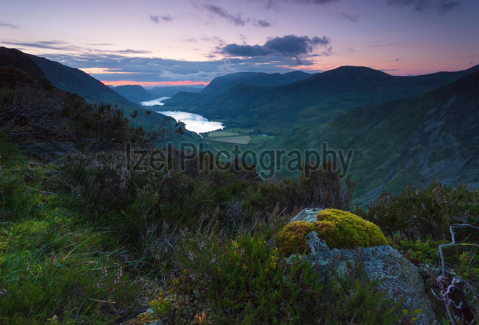 Lake Buttermere after sunset from the summit of Haystacks in the Lake District, UK.