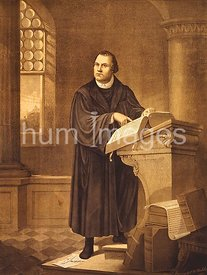Dr. Martin Luther, full-length portrait, standing, facing slightly left, reading in church. ca 1882