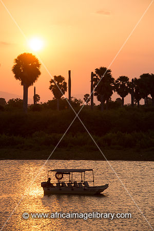 Boat trip on the Rufiji River at sunset, Selous Game Reserve, Tanzania