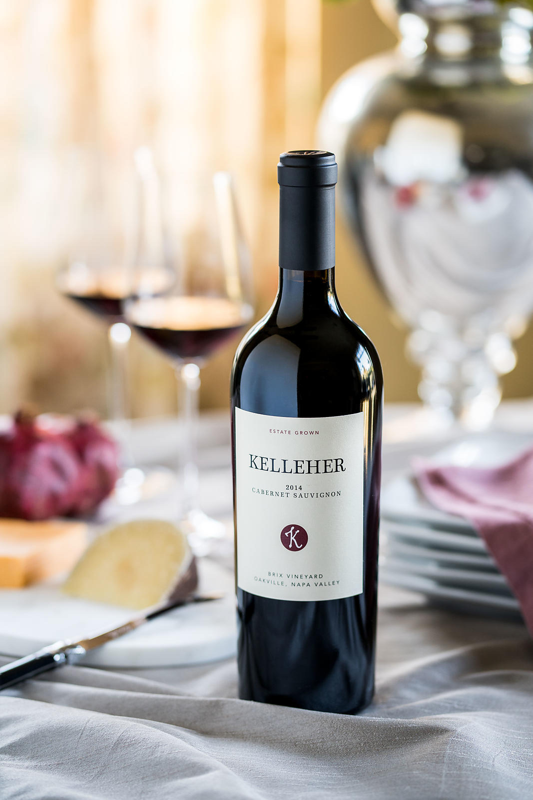 Commercial wine bottle shots for Kelleher Family Winery in Yountville, Napa County. Photo by Jason Tinacci