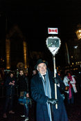 Amsterdam, Netherlands 2015-01-08: Man holding a two-sided sign - NO - side