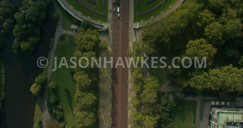 London Aerial Footage The Mall towards Buckingham Palace.