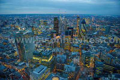 Aerial view of the City of London at night