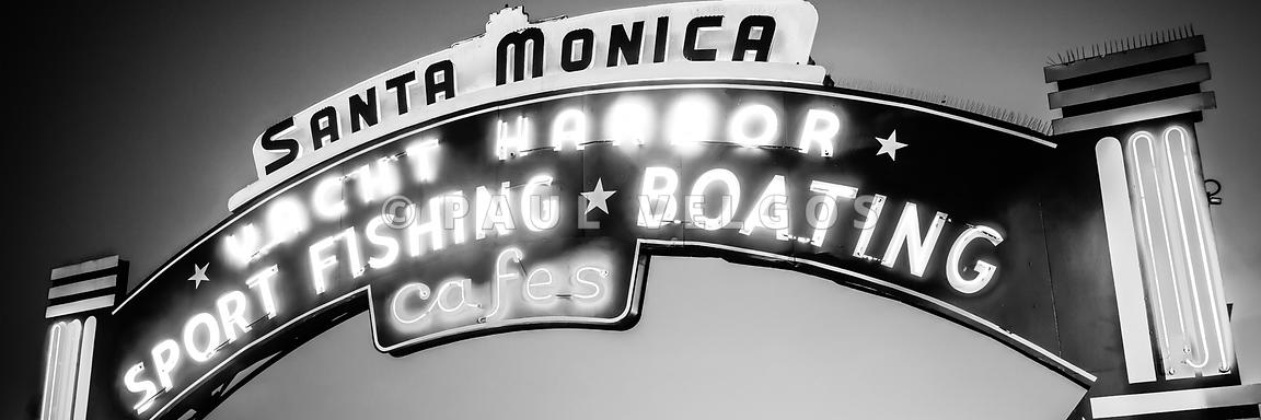 Santa Monica Panorama Black and White Photo