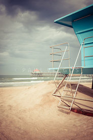 Stormy Huntington Beach Pier and Lifeguard Stand