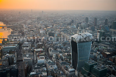 Aerial view of 20 Fenchurch Street and Bank, London