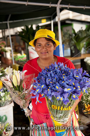 Cape Malay flower seller on Trafalgar Place, Cape Town, South Africa