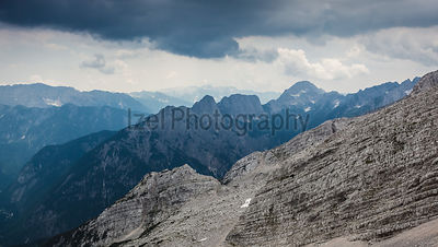 Bad weather approaches over the summits of the Julian Alps near Kranjska Gora, Slovenia.