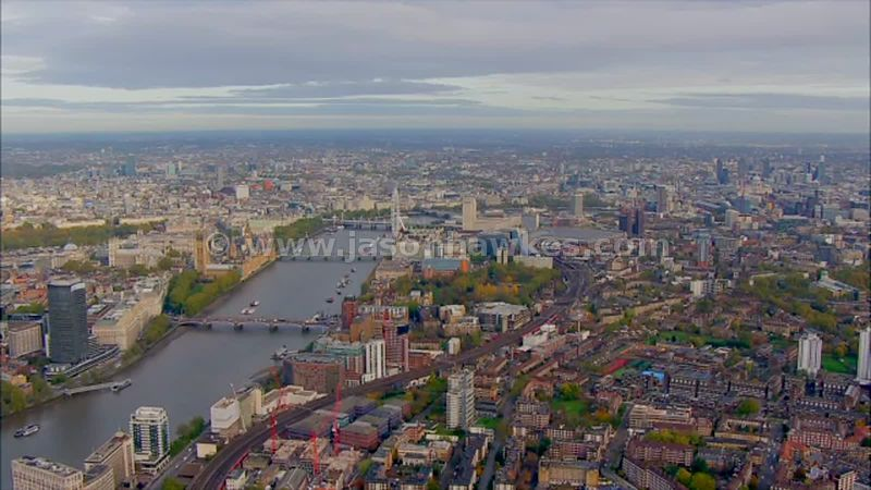 Aerial footage of Lambeth, London