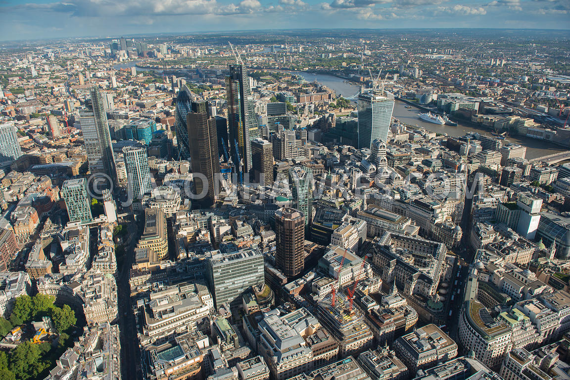 Aerial view of the City looking East, London