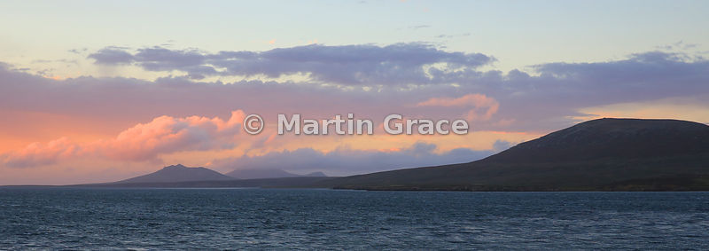 Pebble Island, West Falkland, at twilight, looking from the Settlement towards Middle Peak and Marble Mountain