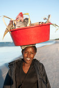Woman carrying fish, Inhassoro, Mozambique