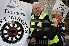 Irish Cattle and Sheep Farmer's Association members protest in Dublin.