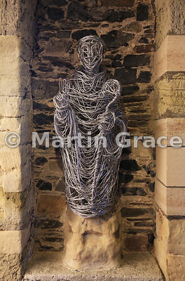 Wire sculpture, Iona Abbey Church, Iona, Inner Hebrides, Scotland