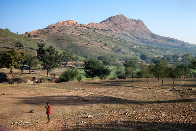 Rural scenery near the village of Kharekhari, near Pushkar, Rajasthan, India