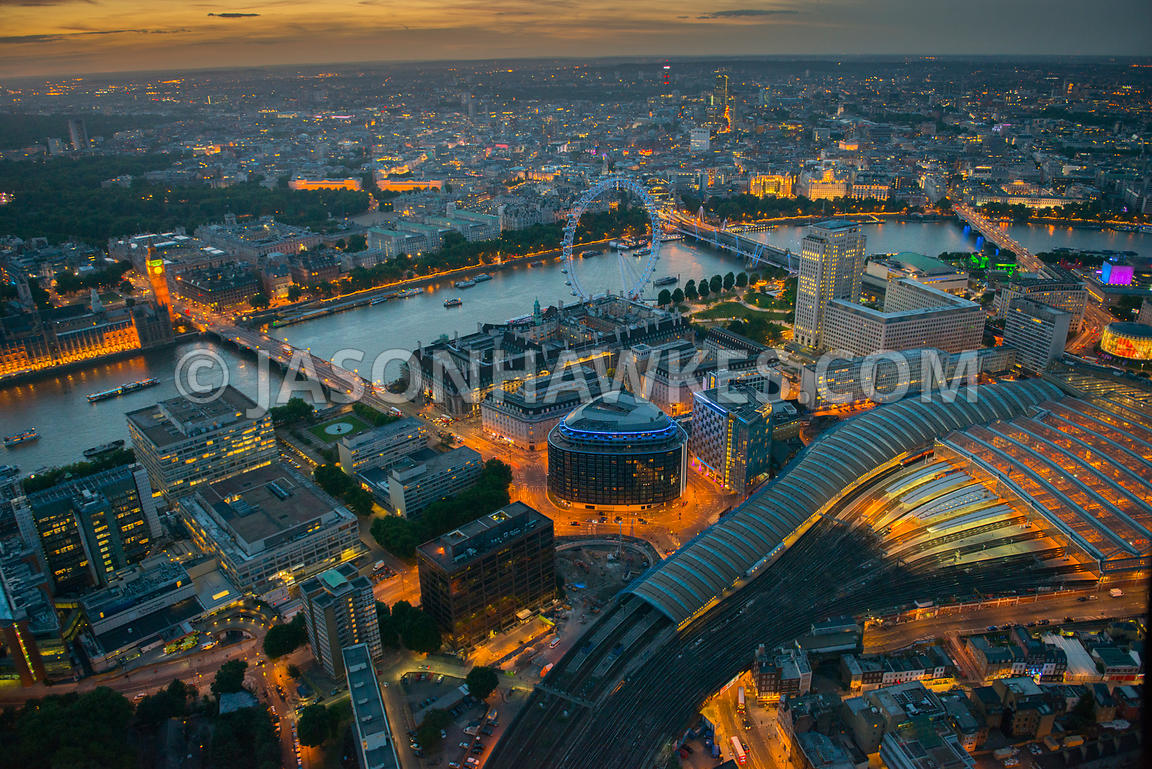 Aerial view over Waterloo at dusk, Lambeth, London