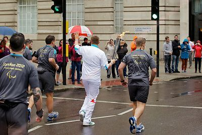 Paralympic Torch Bearer Approaching the Southbank