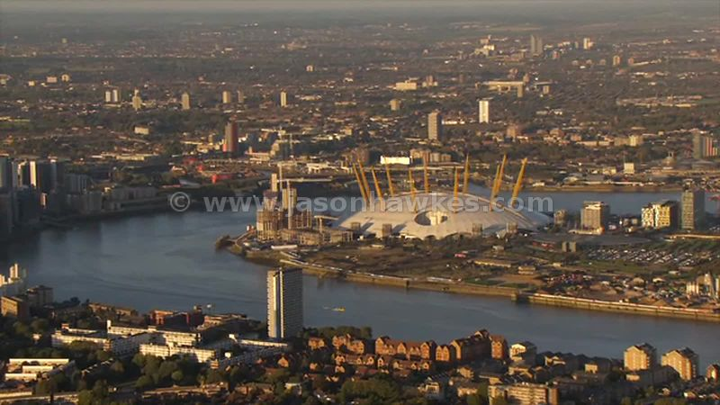 Aerial footage of the O2 Arena, Greenwich, London