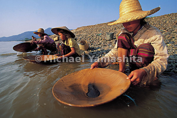 Farmers moonlight during the dry season prospecting for gold along the banks of the Mekong. Most of the panners are women and...