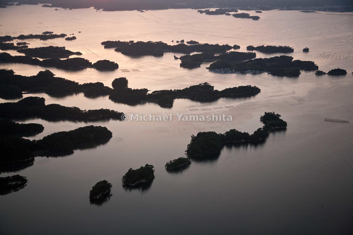 Aerials of the pine clad islands of Matsushima which Basho visited by boat.  Basho described the islands:  countless islands,...