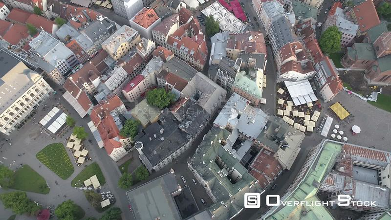 Aerial topdown drone shot of Riga Old town