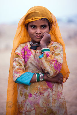 A desert girl at the Pushkar Camel Mela, Pushkar, Rajasthan, India.