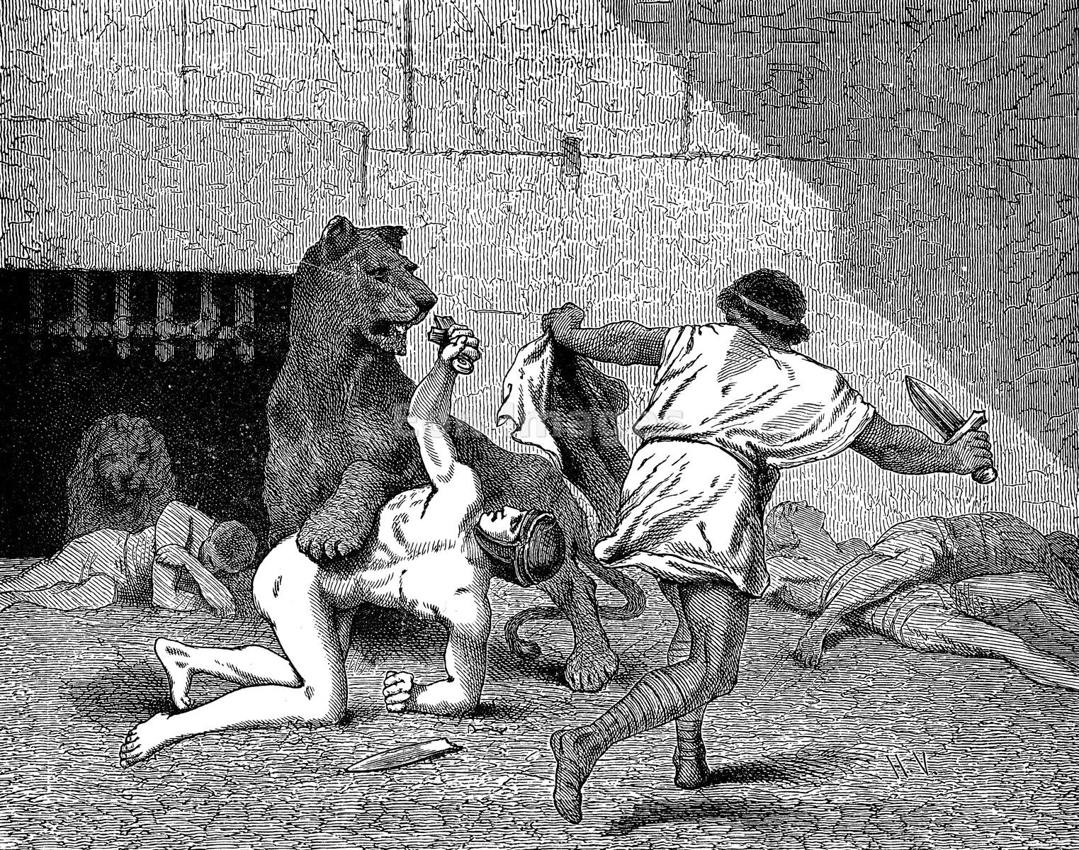 Roman gladiator fights lions