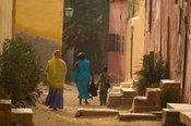 street scene, colonial houses of Gorée Island, Senegal