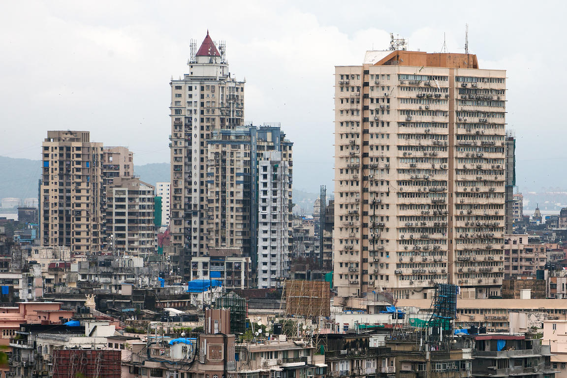 View of weathered buildings near Chowpatty Beach, from Nehru Park, Mumbai, India.
