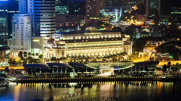 Close Up: Gold Lights Of Singapore's Waterfront At Night