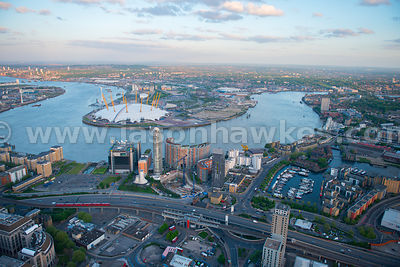 Aerial view of Poplar looking towards Greenwich Peninsula, London