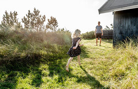Danish father and daughter playing at a Klitmøller summer house 2