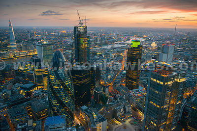 Aerial view of the City at sunset, London