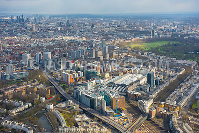 Aerial view of Paddington and Marylebone, London.