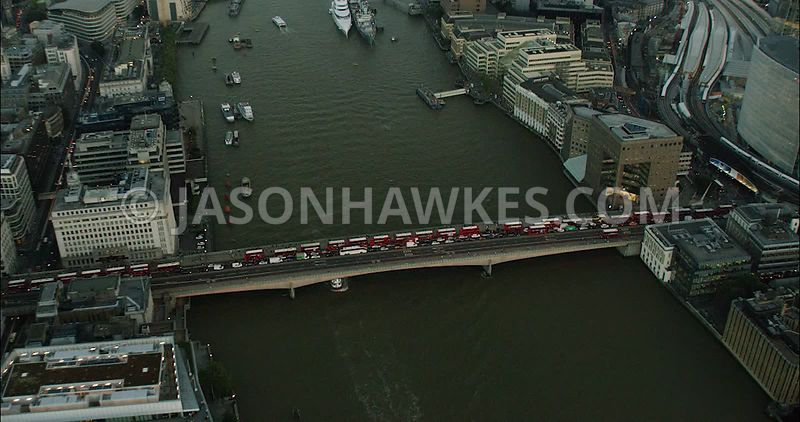 London Aerial Footage of London Bridge with buses