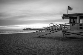 Santa Monica Pier and Lifeguard Tower 17 Black and White Photo
