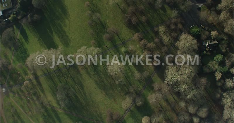 London Aerial footage,  day time in Hyde Park.