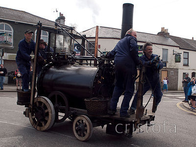 replica of Trevithick's Puffing Devil on Trevithick Day in Camborne