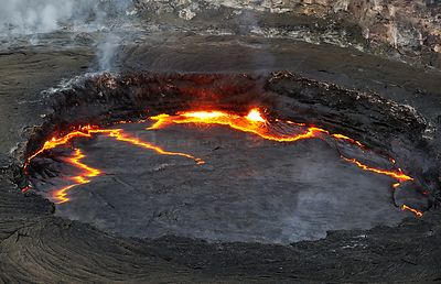 Aerial view of hot lava in the crater of the Erta ale volcano (the smoking mountain) in the Afar desert, Northern Ethiopia, F...