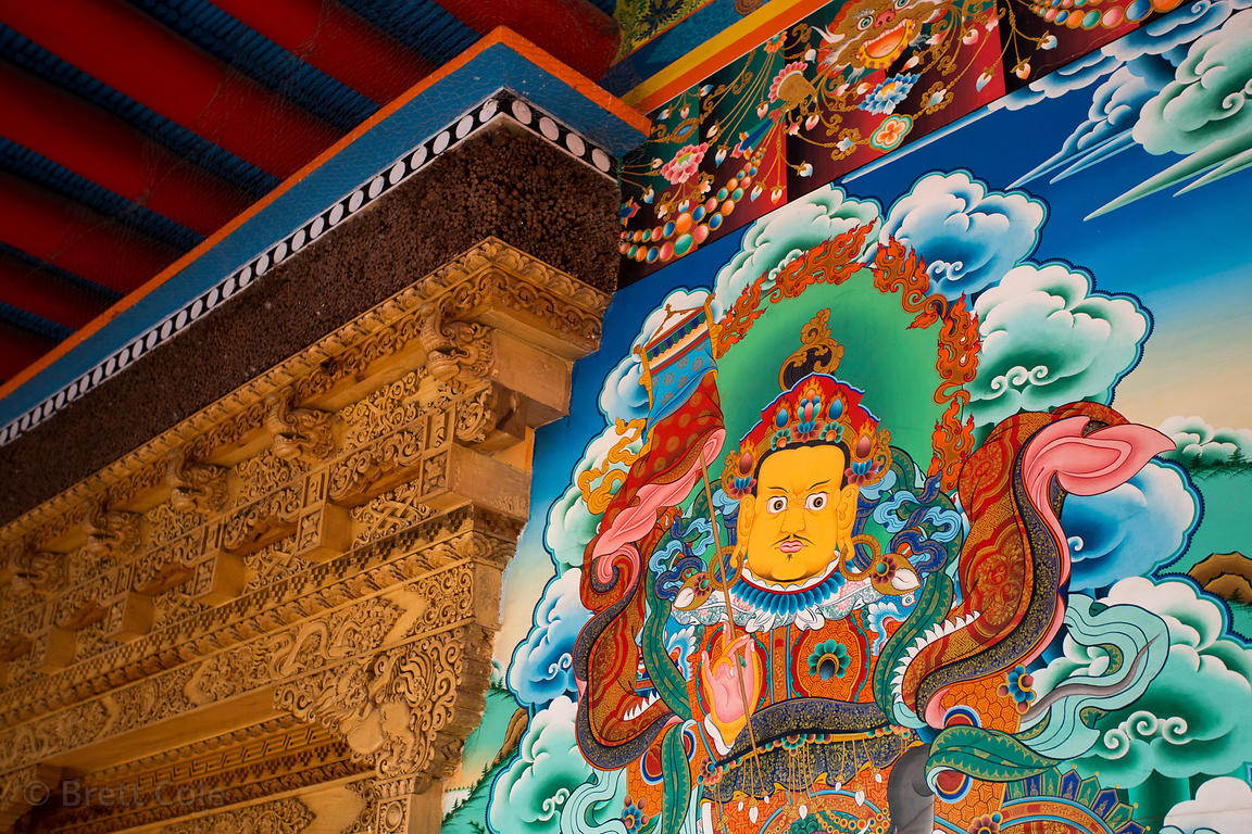 High-quality modern painting in Matho Gompa, Ladakh, India