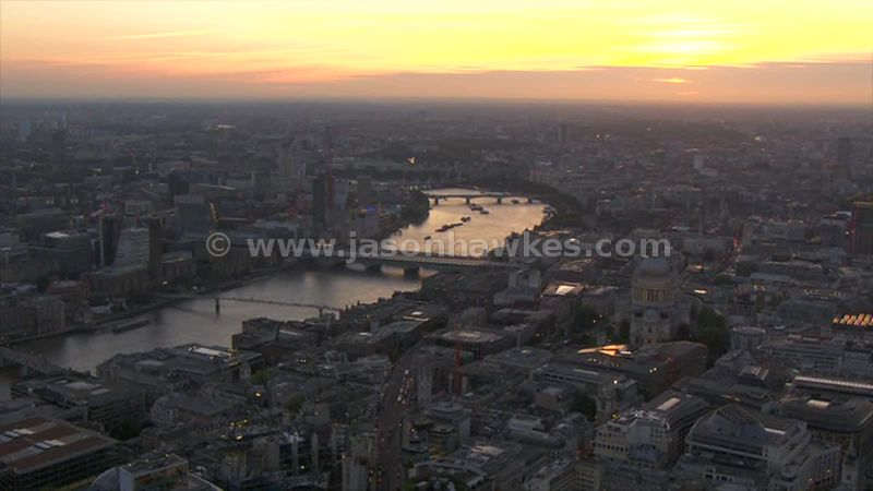 Aerial footage of London at sunset