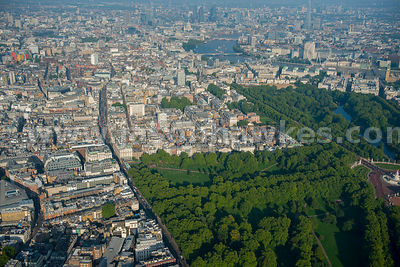 Aerial view over Green Park and Piccadilly, London