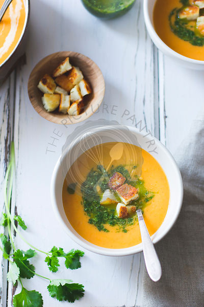 Roasted Vegetable Soup with Green Sauce and Cheese Croutons