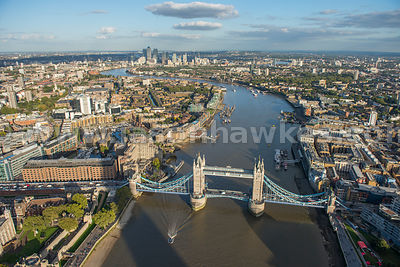 Aerial view of Tower Bridge, London