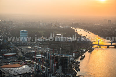 Aerial view of Battersea Power Station at dusk, London