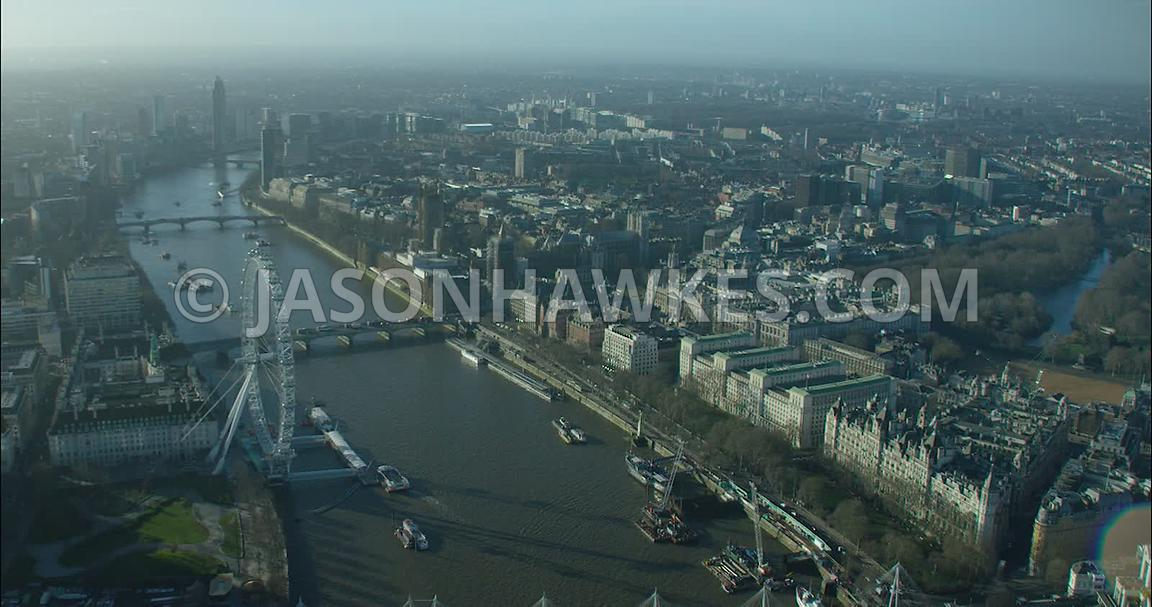 London Aerial footage, River Thames with London Eye.