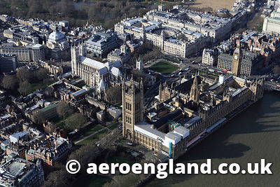 aerial photograph of the Palace of Westminitser London UK