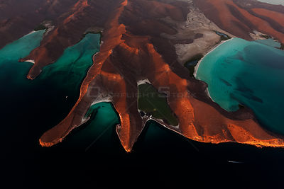 Aerial view of Espiritu Santo Island National Park, Sea of Cortez (Gulf of California), Mexico, June,